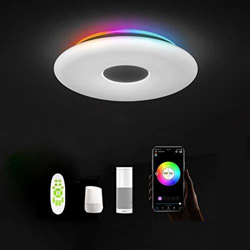 Smart Alexa LED Deckenleuchte mit Bluetooth Lautsprecher Kompatibel mit Alexa/Assistant Dimmbar RGB Farbwechsel Musik Deckenlampe Fernbedienung/APP Steuerung 36W Schlafzimmer Wohnzimmer Badezimmer