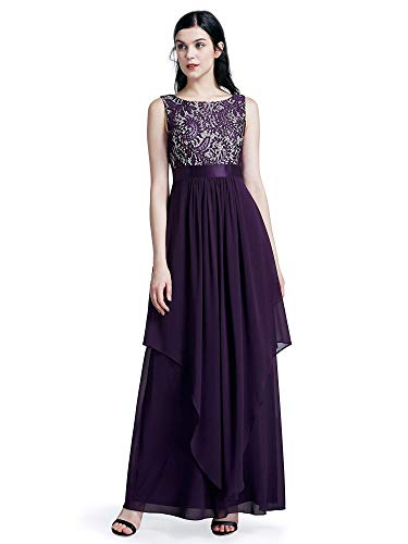 Ever-Pretty Womens Sleeveless Elegant Formal Black Tie Affair Dress 16 US Purple