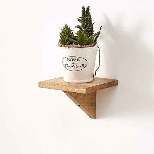 GIEANOO Estantería flotante de madera maciza de roble montado en la pared pequeño estante con soportes triangulares para dormitorio, salón, baño, oficina, cocina (15 cm)