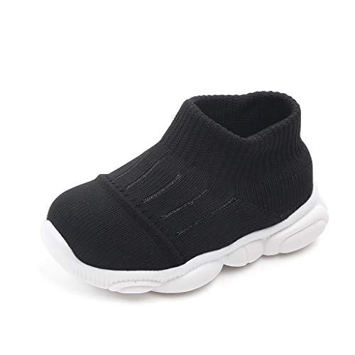 Chaussure Bebe Enfant Garcon Fille Nouveau-né Légères Basket Respirante Chaussure de Course Chaussure Décontractées Entraînement 2019 Automne Hiver 3 6 9 12 15 mois (19(0-3mois), NOIR)