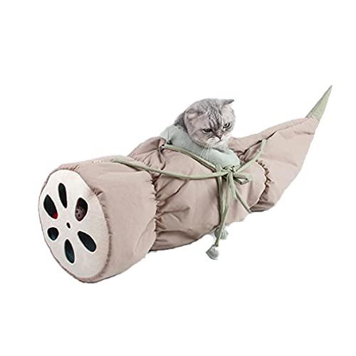Nido de Gato, Cama de Cueva para Gatos Calidez acogedora, Totoro Toys Hamaca para Gatos Raíz de Loto Nido de Cuna Hamaca Plegable Nido de Gato semicerrado Lavable,Duradero