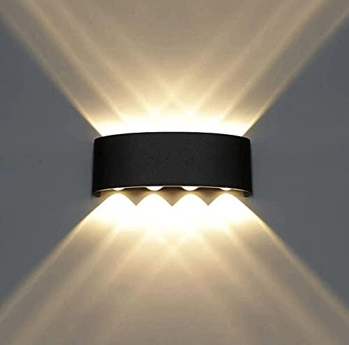 Lampara Arbotante LED Foco Cubo Moderna Aluminio Pared Interior Exterior Impermeable (Marco Negro + Luz ámbar, 8W)
