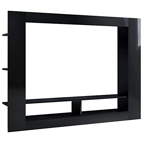 vidaXL Mobile TV Lucido Nero 152x22x113 cm in Truciolato