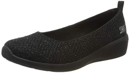 Skechers Arya Sweet Glitz, Zapatillas sin cordones Mujer, Negro (Black Metallic Knit/Black & Gunmetal Trim Bbk), 39 EU