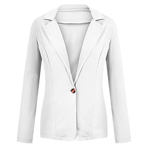 Chaqueta de mujer blanca de manga larga Blazers de un solo botón de oficina de señora chaqueta