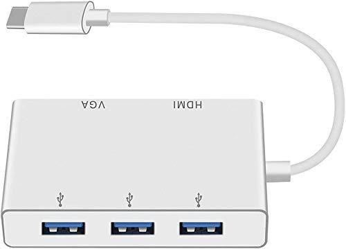 Tipo USB C a HDMI VGA Adaptador, HuiHeng Tipo C a 4K HDMI/1080P VGA/USB 3.0, USB C Cubo Tipo C Convertidor de Video para , ipad Pro, Chromebook, Samsung Galaxy, Dell XPS