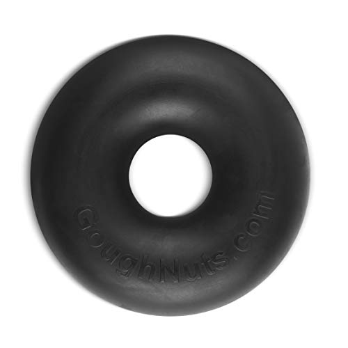 Goughnuts Dog Chew Toys Rubber Ring Indestructible Dog Chew Toys for Extreme Aggressive Power Chewers |for Large Dogs 100+ Pounds |Buster (XL) Size, Tough Black Rubber