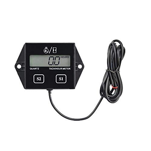 Tivivose Digital de la Velocidad de la Motocicleta de la batería de Velocidad Velocidad del Motor de la Motocicleta lancha Temporizador tacómetro electrónico (Color : Black)