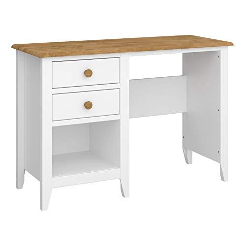 Steens Heston Schreibtisch mit Naturholz Arbeitsplatte, 110x75x45 (B/H/T), Weiß, schmal gebaut, ideal für das Home Office, platzsparend