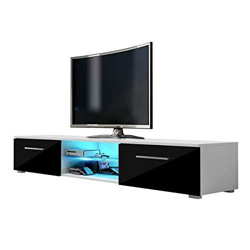 Edith – TV-Lowboard / TV-Bank / Fernsehschrank (140 cm, Weiß Matt / Schwarz Hochglanz, LED in Blau)