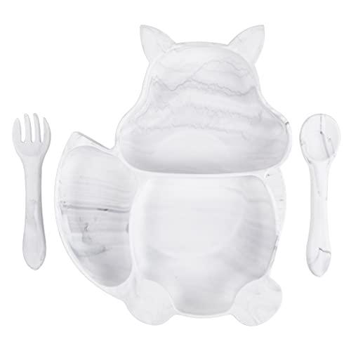 MONLEYTA Plato de alimentación Dividido para bebé con Forma de Ardilla de Silicona Cuchara, Tenedor, vajilla, Amarillo, AA Y1