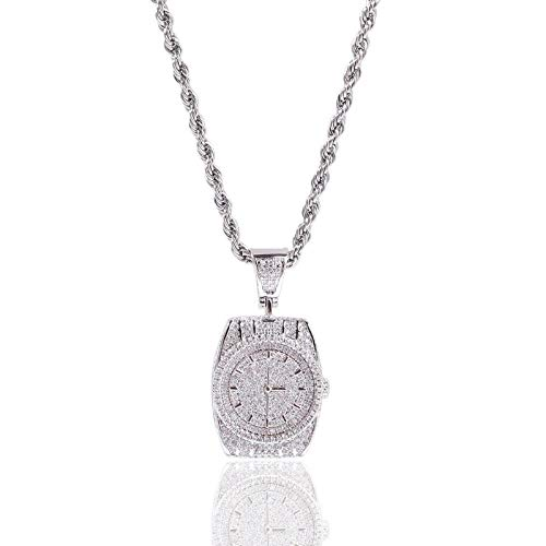 Anhänger Halskette Schmuck Mode Kreative Uhrenform Anhänger Retro Taschenuhr Halskette Für Herren Damen Schmuck Neue Halskette-Silber