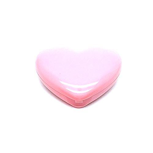 MB-LANHUA Love Heart Shape Vide Lipstick Case Rouge à Paupières Case Rouge Lipstick Box Pigment Palette Refillable Foundation Makeup Dispenser with Aluminium Pallet Mirror Pink