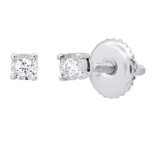 Dazzlingrock Collection 0.07 Carat (ctw) Round White Diamond Ladies Solitaire Stud Earrings, 14K White Gold
