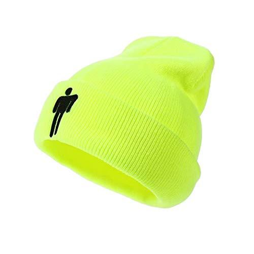Unisex Billie Eilish Cappello per Donna Uomo Beanie Hip-Hop Inverno Lavorato A Maglia Colore Solido Berretto (Verde)