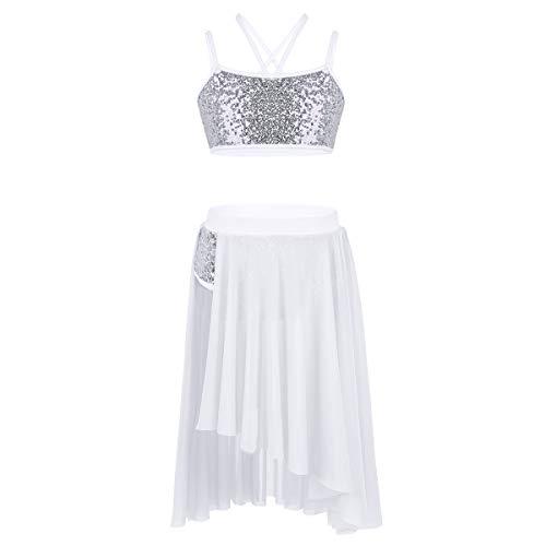 inlzdz Kids Girls Two-Pieces Dance Set Shiny Sequins Crop Tops Irregular Skirts Lyrical Ballet Modern Dancewear Ivory 8-10