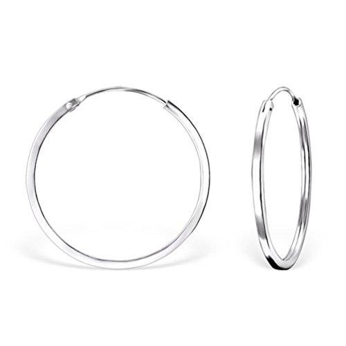 DTPsilver - Damen - Creolen Quadratisch - Ohrringe 925 Sterling Silber - Klein/Mittelgroße/Groß - Dicke 2 mm - Durchmesser 40 mm