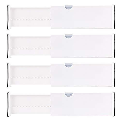 Lawei 4er Pack Schubladenteiler Verstellbar Organizer Seperatoren für Schlafzimmer Badeimmer Kommode Schrank Babyschublade Schreibtisch Küche - Weiß