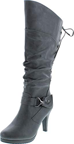 TOP Moda Women's Knee Lace-up High Heel Boots Black