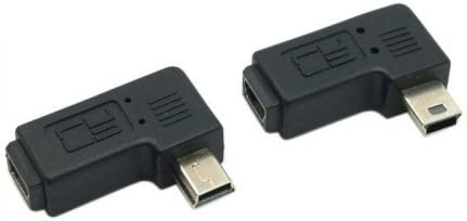 online shop Cablecc 2pcs 90 Degree Left Right Angled 5 Male USB excellence Pin t Mini