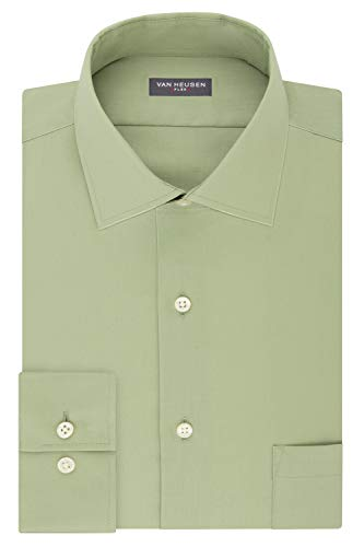Van Heusen mens Flex Regular Fit Solid Dress Shirt, Chicory, 16.5 Neck 34 -35 Sleeve Large US