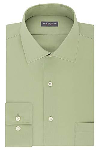 Van Heusen Men's Dress Shirt Flex Regular Fit Solid, Chicory, 17.5' Neck 36'-37' Sleeve (X-Large)