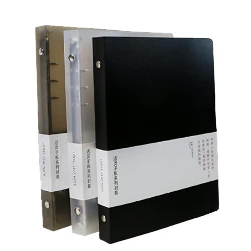 3パックA5A6B5ラウンドリングバインダーカバー6リング9リングPVCバインダーカバー6穴詰め替え可能なPVCノートブックルーズリーフバインダープロテクター(内紙は含まれていません) (ホワイト+ブラック+ブラウン, B5(9リング))