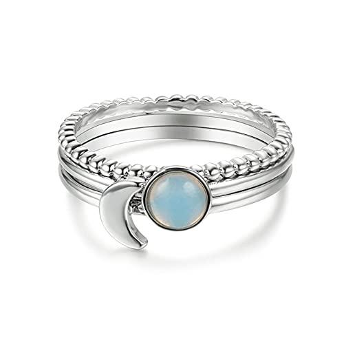 Boho femenino 3 uds conjunto de anillos de luna apilables oro blanco claro laboratorio anillos de piedra lunar para mujeres boda anillo fino de ópalo blanco joyería 8