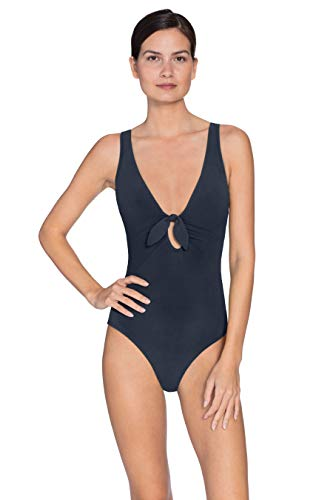 Robin Piccone Women's Ava Knot Plunge One Piece Swimsuit Navy 6