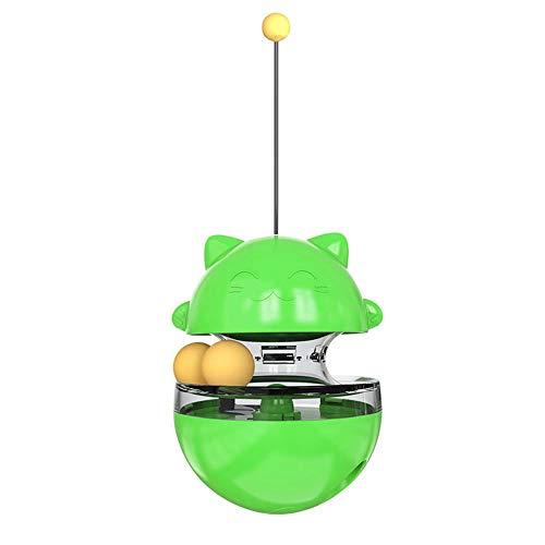 Sungpune Juguete para Mascotas Gato Triturador Treat Juguete Divertido del Gato Interactivo Vaso de Juguete con Doble balanceo Bolas Desmontables Varita para Gatos Gatito Verde