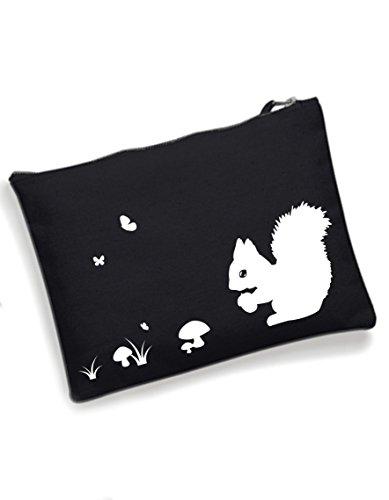 Eichhörnchen Schminktasche Kosmetiktasche Make Up Tasche Federtasche schwarz