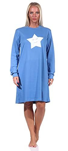 NORMANN-Wäschefabrik Kuschel Interlock Damen Nachthemd Langarm mit Bündchen und Sterne Motiv - 212 213 552, Farbe:blau, Größe:44-46
