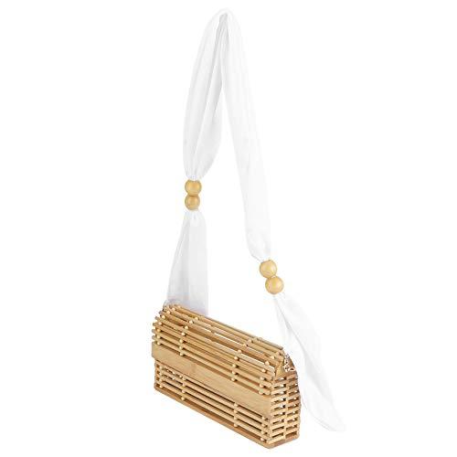 Hoseten Bolso de bambú, sin Cremallera Bolso de bambú, Verano para Vacaciones en la Playa