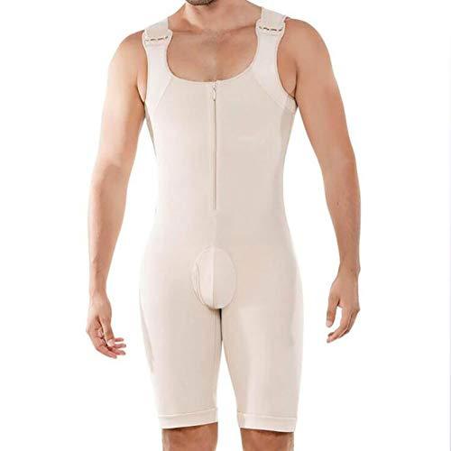 SHANGXIAN Hombres Fajas Compresión Bodysuit Butt Lifter Entrenador de Cintura Faja de Cuerpo Completo Ropa Interior Onesies,Piel,L