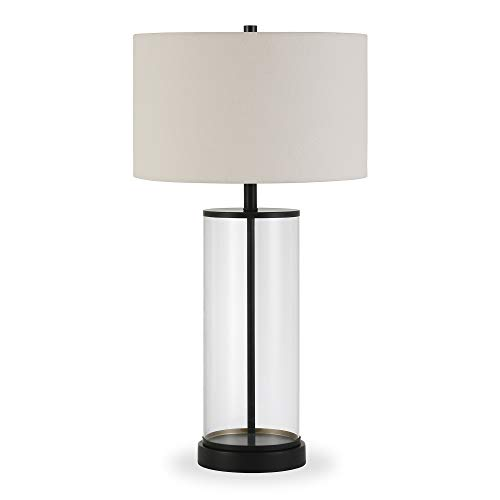 Henn&Hart TL0122 Mid-Century Modern Blackened Bronze Metal and Glass Table with White Linen Shade, for Nightstand, Bedroom, Living Room, Office, Study Lamp, Black