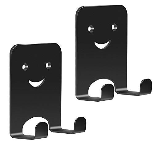Wandhaken selbstklebend, Badhaken für Handtücher, 2 Stück, schwarz, Handtuchhaken für Badezimmer/Küche,Metall-Klebehaken zum Aufhängen von Handtüchern/Schlüsseln/Bildern, Doppelhaken, Smile Design