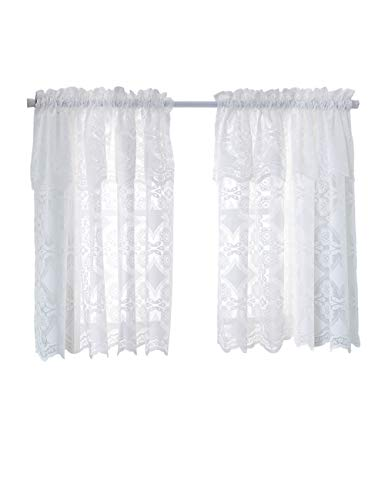 Lace Curtains 29 x 36 inch, 2 Pack White Kitchen Tiers Sheer Rod Pocket Voile for Small Bathroom Window Treatment (29 x 36 inch, White)