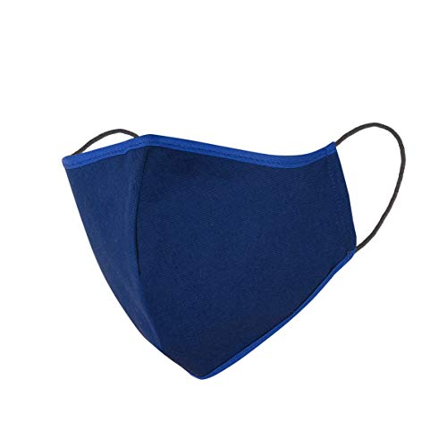 3 Stück Mund Nasen Maske Behelfs-Mundschutz Baumwolle waschbar mit Gummi blau