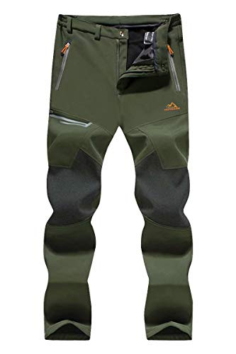 KEFITEVD Hiking Pants Mens Casual Windroof Walking Pants Men's Outdoor Army Military Warm Snow Ski Pants Green