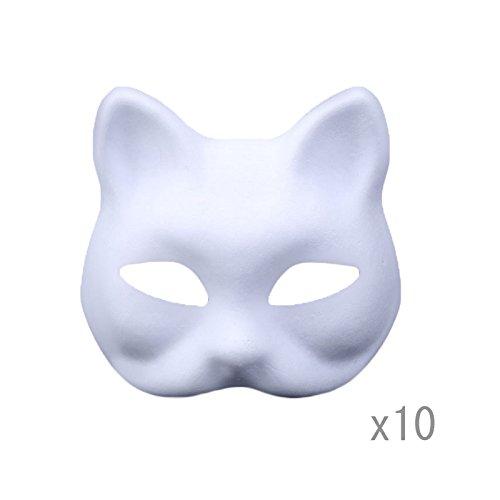 Meimask DIY Weißes Maske Zellstoff Blank Handgemalte Maske Persönlichkeit Kreative Freie Design Maske 10 stücke(Katze)
