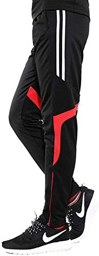 GEEK LIGHTING Men's Active Soccer Training Pants Casual Gym Jogger Sweatpants with Pockets White/Red