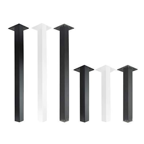4x Natural Goods Berlin STANDARD Legs eckige Metall Tischbeine massiv | Tischgestell quadratisch | Tischkufen stabil | 5mm Grundplatte | DIY Möbelfüße (Gerade - 72cm (Schreib-/Esstisch), Schwarz)
