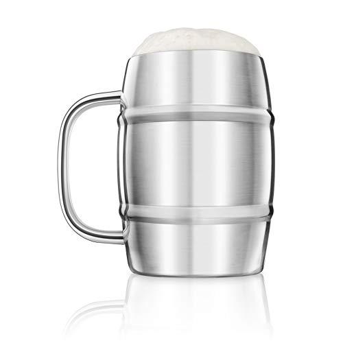 Tocco finale in acciaio INOX, con doppia parete boccale di birra Keg mug–1litri–FTA1700