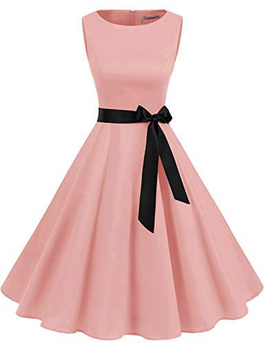 Women's 50s Vintage Retro Rockabilly Sleeveless Round Neck Cocktail Party Swing Dress Spring Prom Dresses for Women Blush L