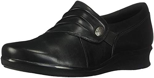 Clarks Women's Hope Roxanne Loafer, Black Leather, 9 M US