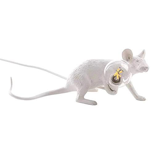 ZXQZ Lámpara de Escritorio Lámpara de Mesa de Resina con Forma de ratón, lámpara de Mesa para la decoración de la cabecera de la habitación del hogar (Color:Sentado, Tama?o:Blanco)