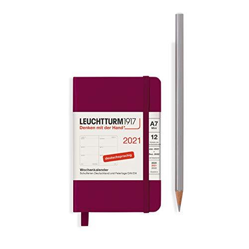 LEUCHTTURM1917 Wochenkalender 2021 Hardcover Mini (A7), 12 Monate, Port Red, Deutsch