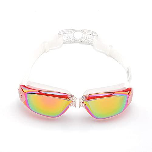 WFSH Gafas Ajustables Moda Chapado de Silicona Gafas Gafas a Prueba de Agua Gafas de Baño Espejo Antivaho Antivaho Uv Playa Gafas para Deportes Acuáticos Anti-Cloro/pink/opcs
