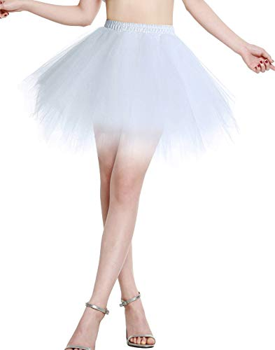 Berylove Mujer Falda de Tul Tutú Ballet Enaguas Plisada Cortas para Fiestas BLP6008White XL