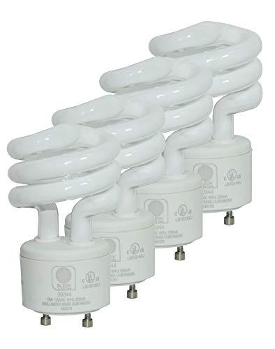 SleekLighting - 13Watt GU24 Base 2 Prong Light Bulbs- UL approved-120v 60Hz Light Bulb- Mini Twist Lock Spiral -Self Ballasted CFL Two Pin Fluorescent Bulbs- 5000K Daylight 4pack